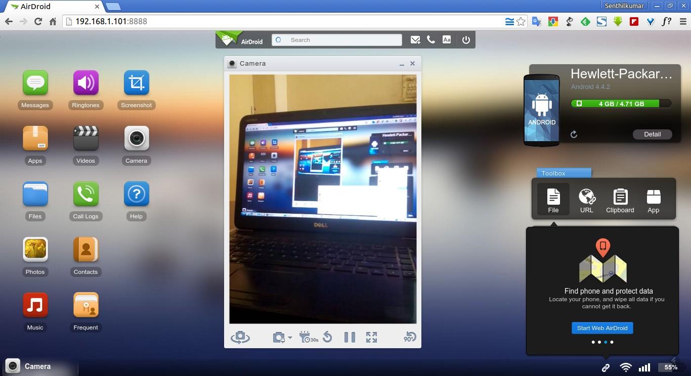 Take screenshots using AirDroid