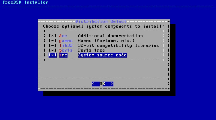 Select the system components to install on FreeBSD