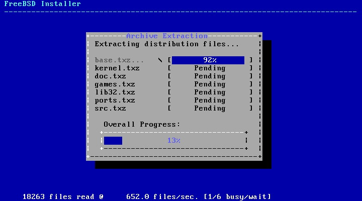 Start FreeBSD installation
