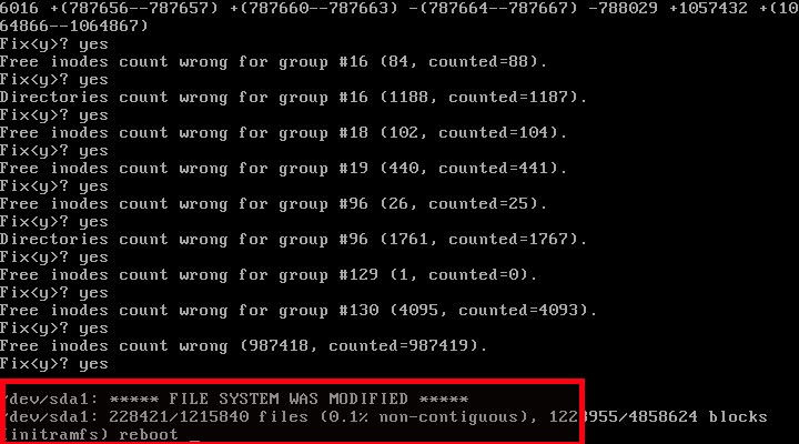 Ubuntu file system is modified and fixed