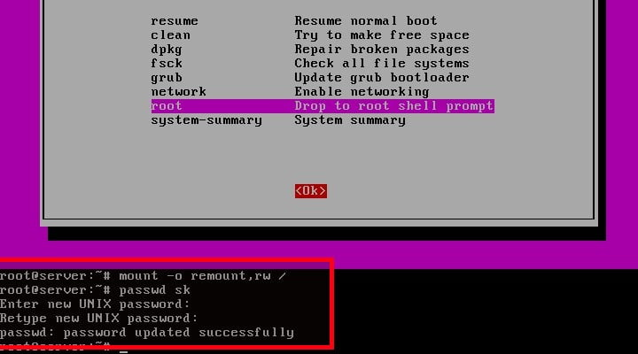 Reset administrative user password in Ubuntu