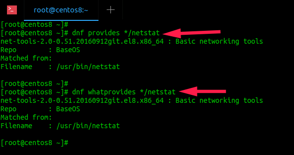 find which package provides netstat command in centos 8 server