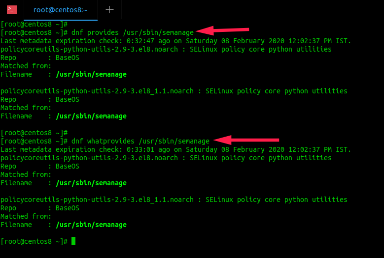 find which package provides semanage command in centos 8 server