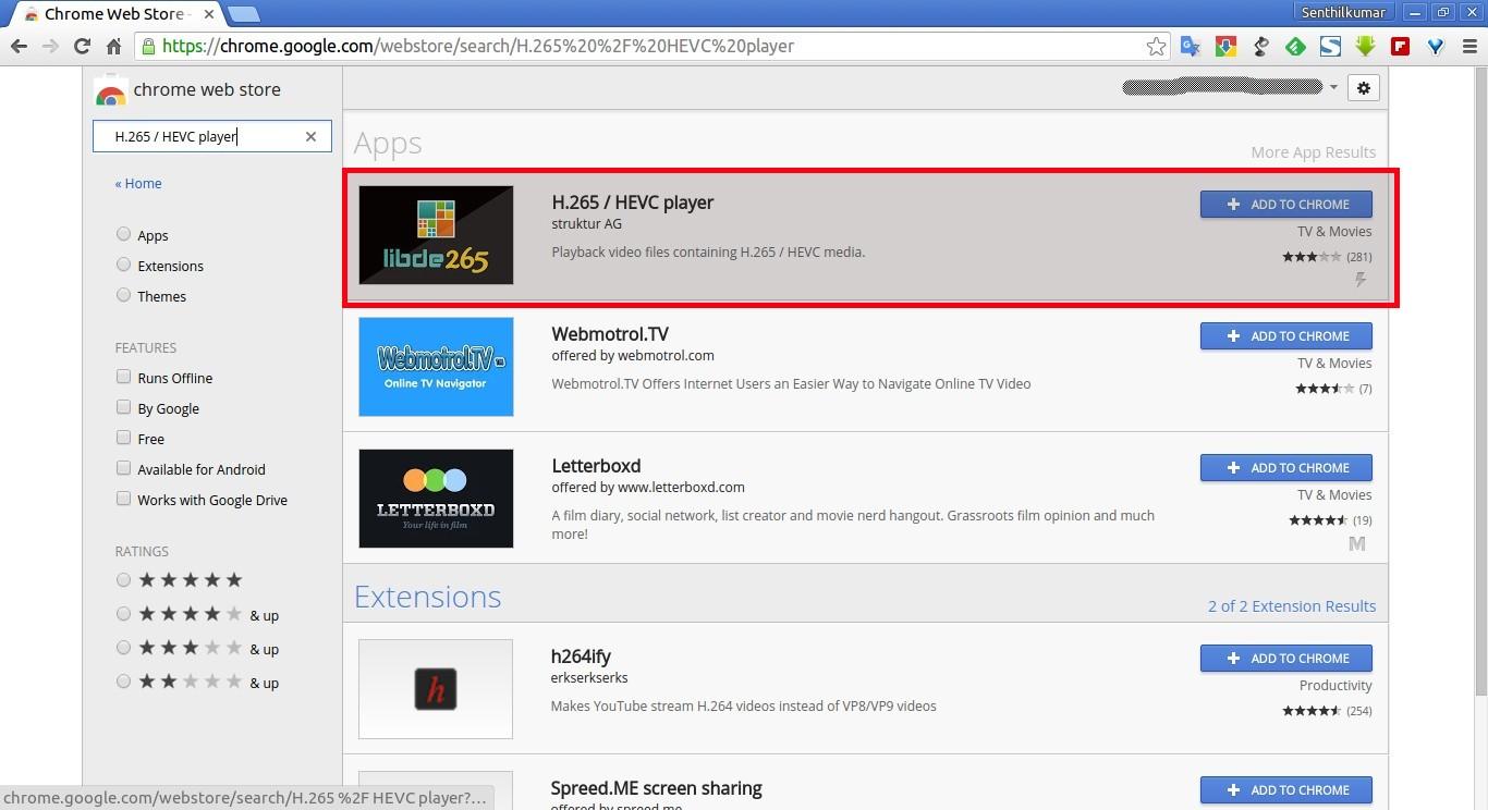 Chrome Web Store - H.265 - HEVC player - Google Chrome_001