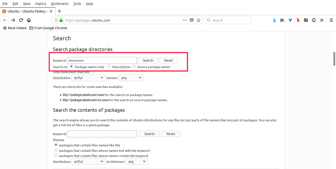 Search package details from Ubuntu website