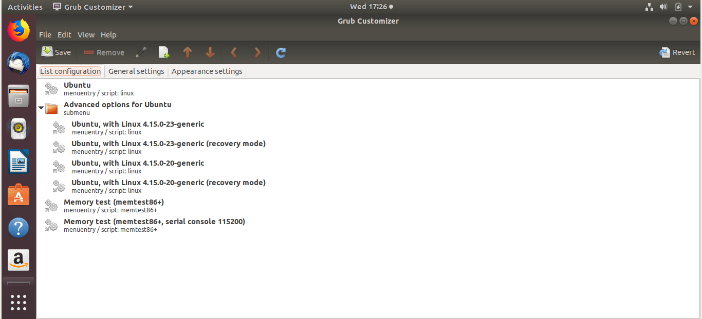 grub-customizer interface