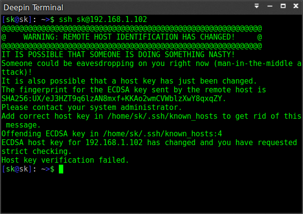 """ECDSA host key"" Warning Error"