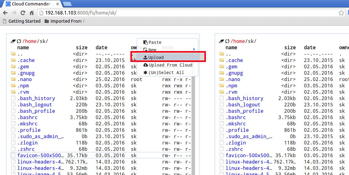 Upload files via Cloud commander