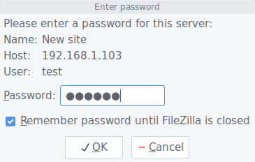 Enter FTP user's password