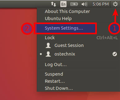 Open Ubuntu's System settings