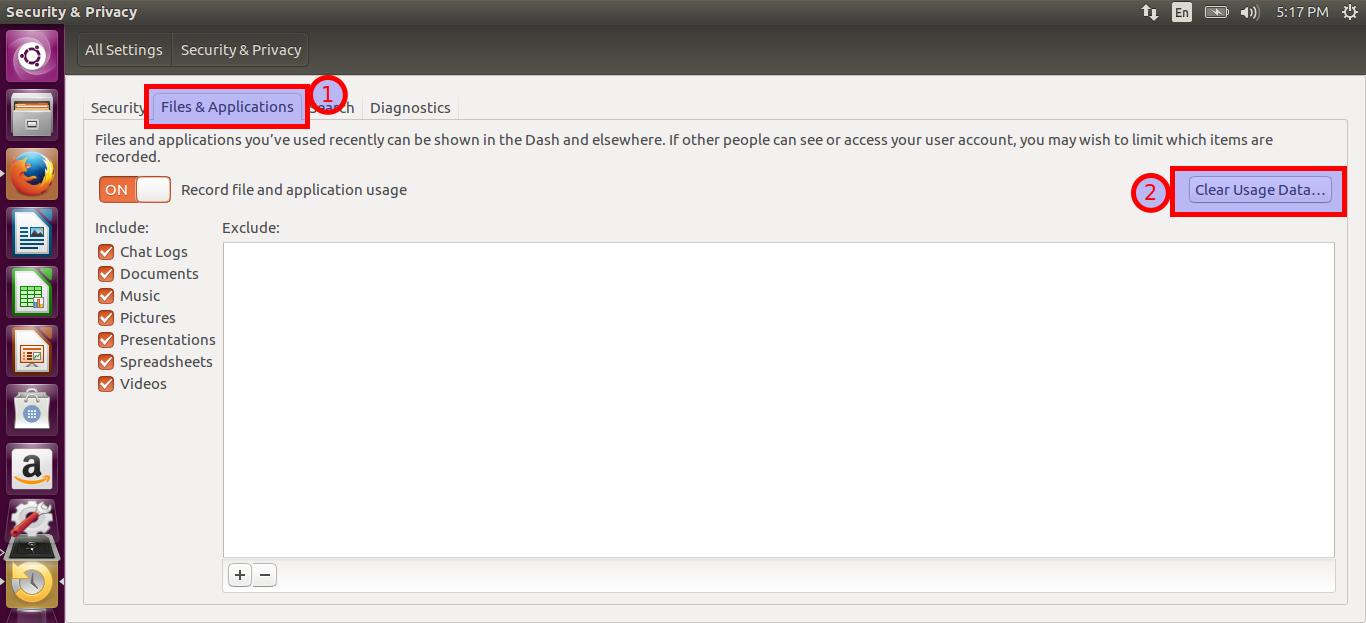 Clear Ubuntu dash search bar history