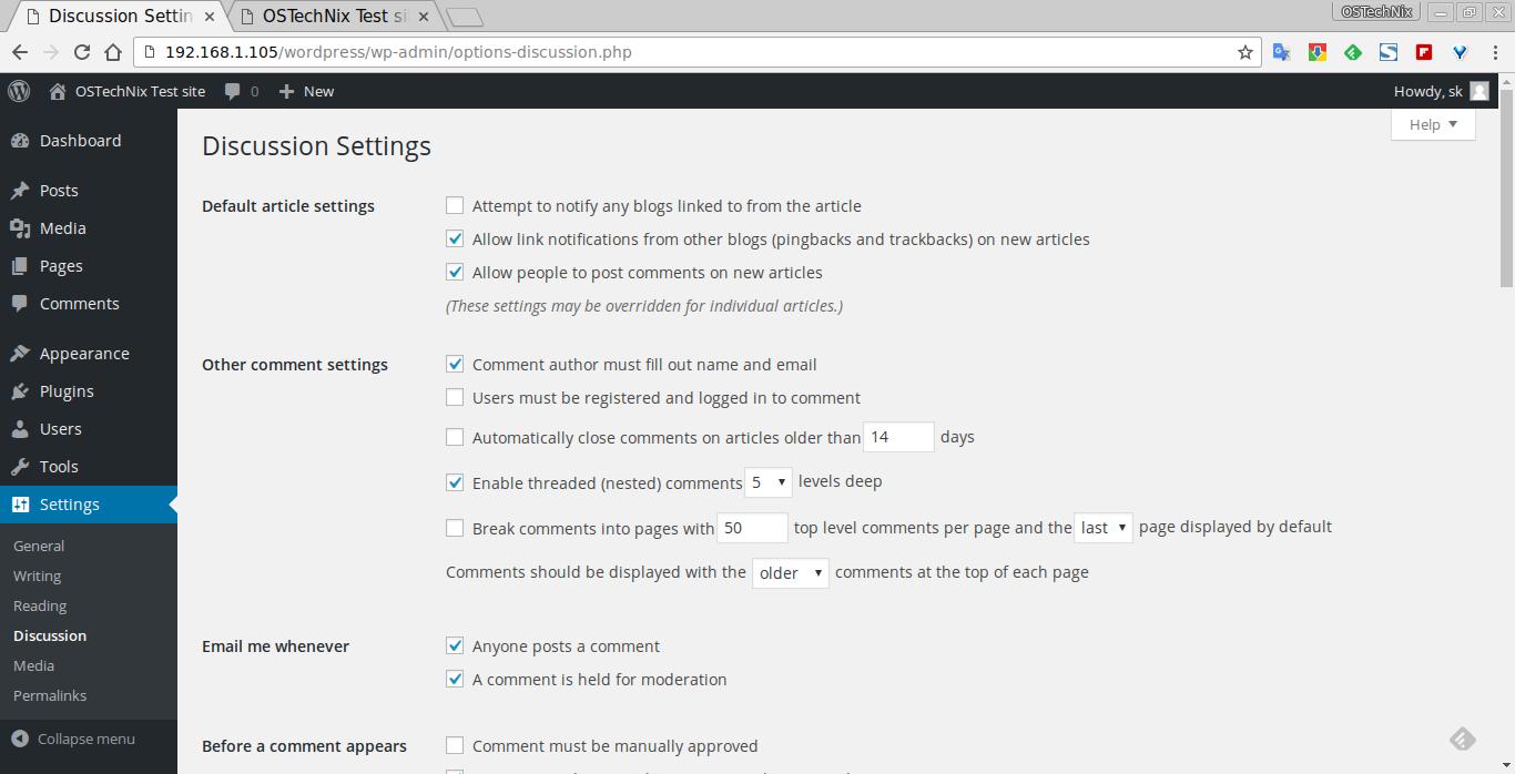 Discussion Settings ‹ OSTechNix Test site — WordPress - Chromium_005