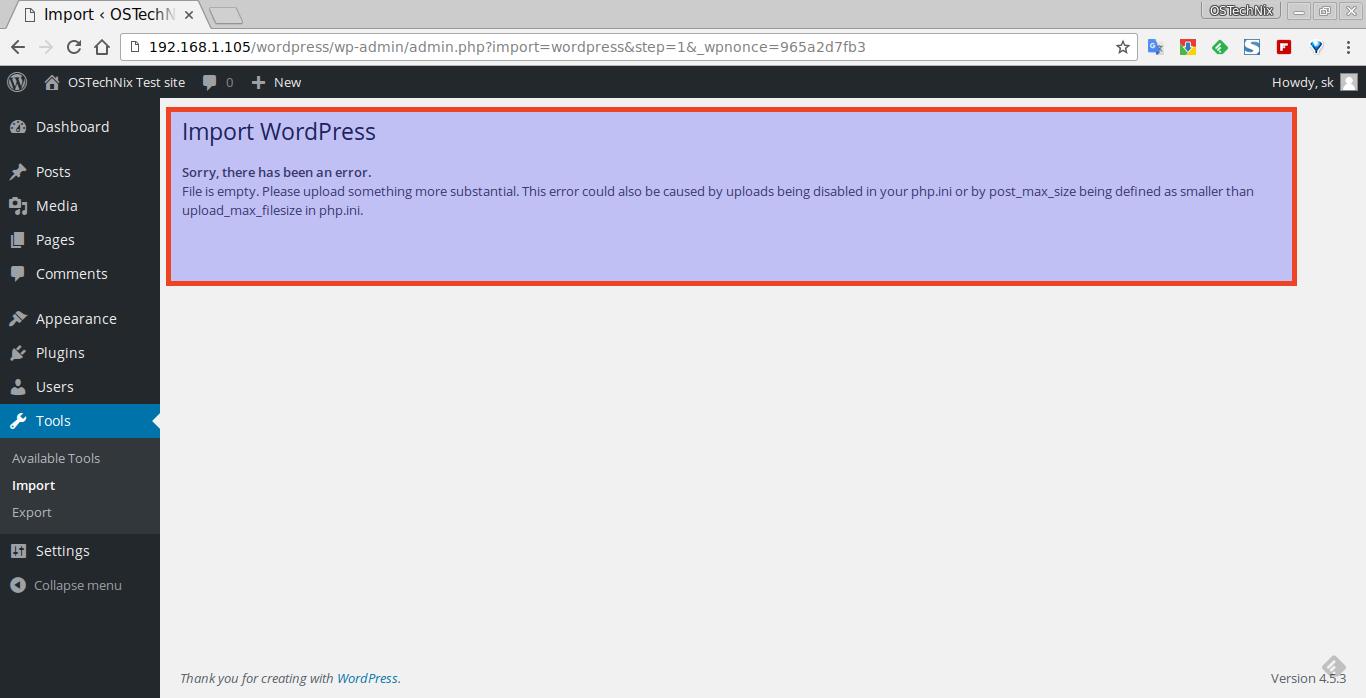 Import ‹ OSTechNix Test site — WordPress - Chromium_001