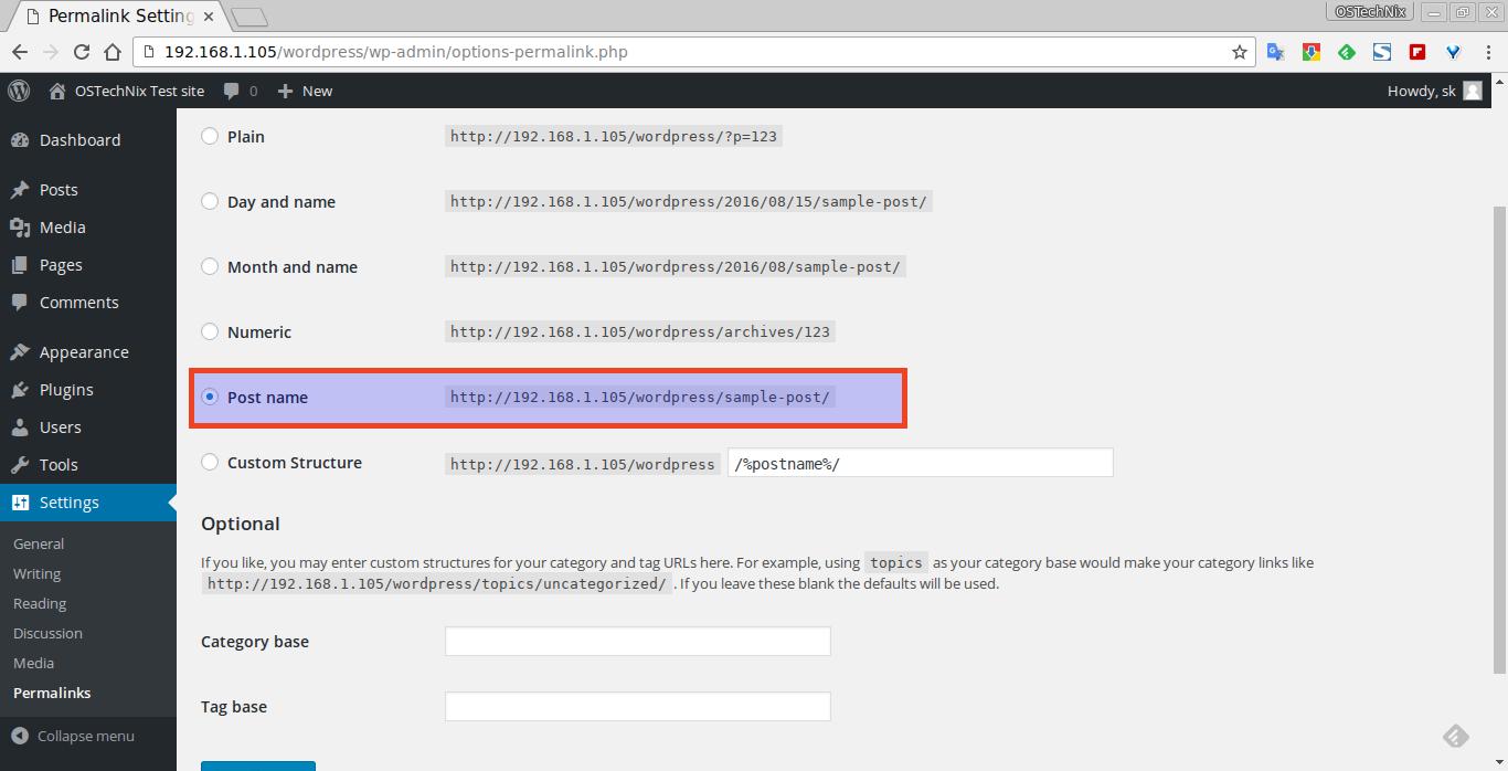 Permalink Settings ‹ OSTechNix Test site — WordPress - Chromium_003