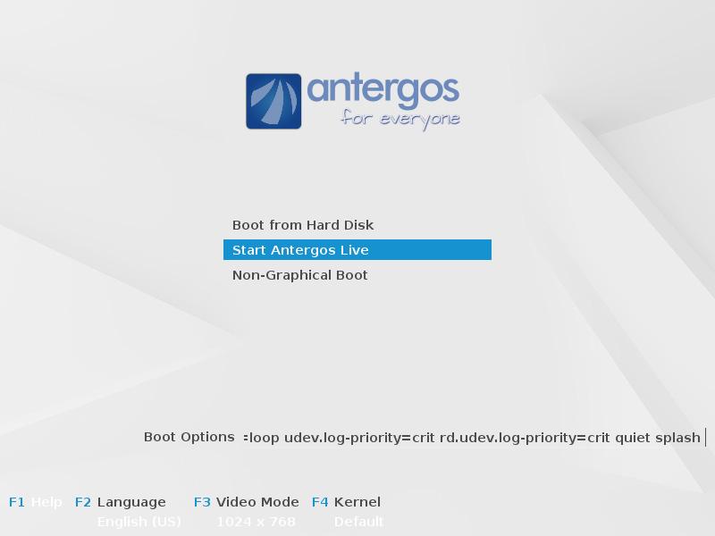 Start Antergos live