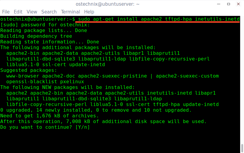 Install PXE server