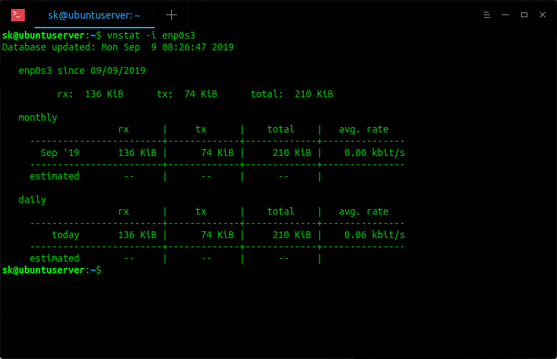 View network bandwidth usage of a particular network interface using vnstat