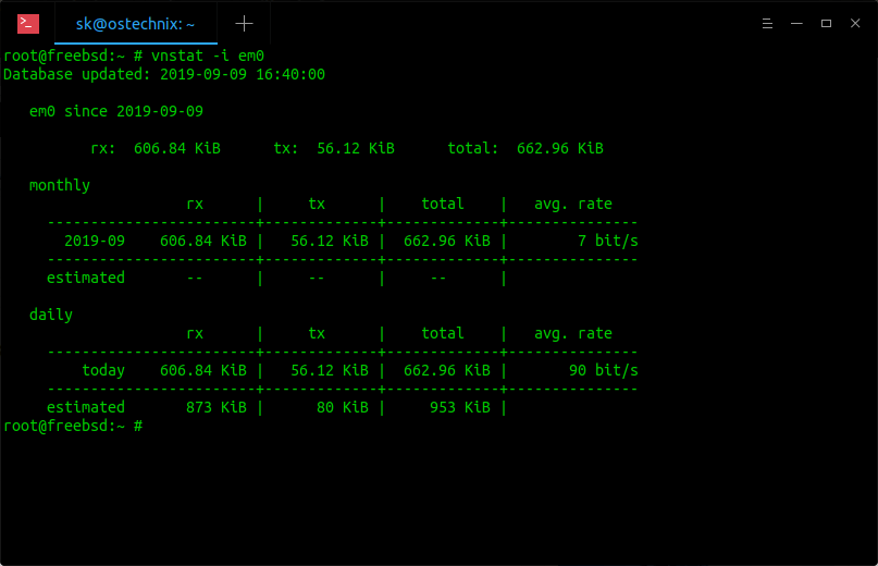 View network bandwidth usage on FreeBSD using vnstat