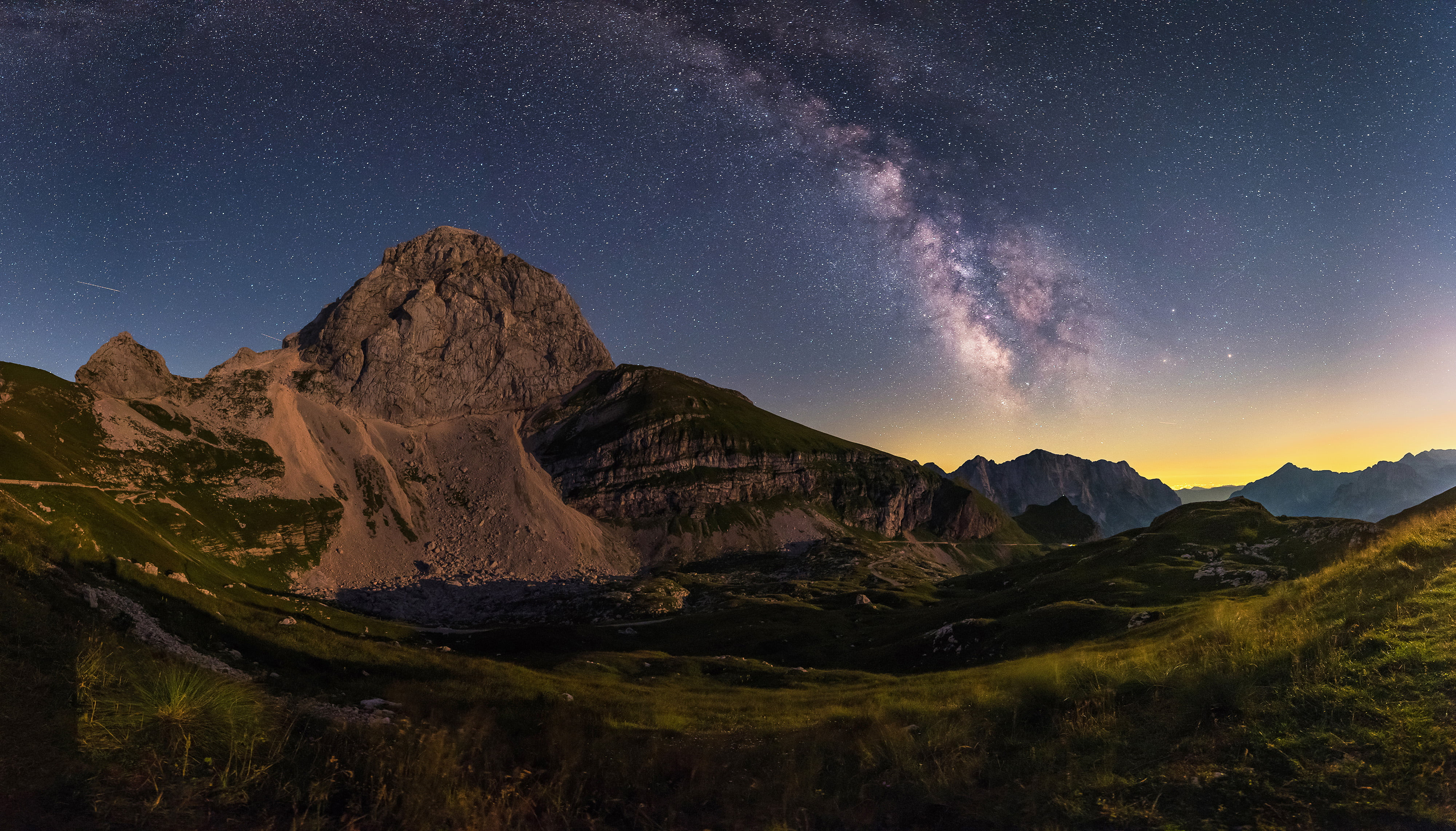 Milky Way over the Mangart saddle in Julian Alps in Slovenia