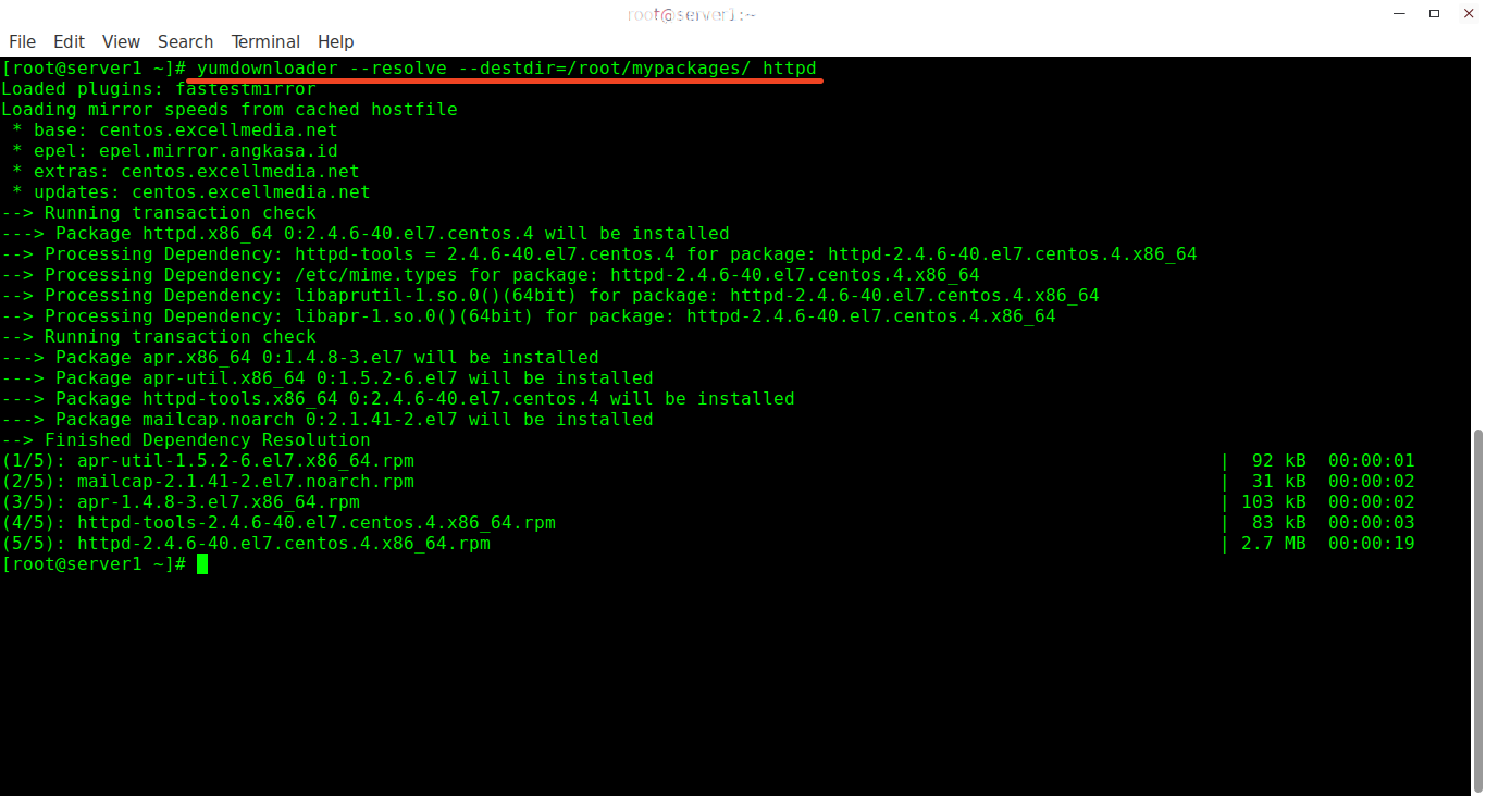 Download a RPM package with all dependencies using Yumdownloader utility