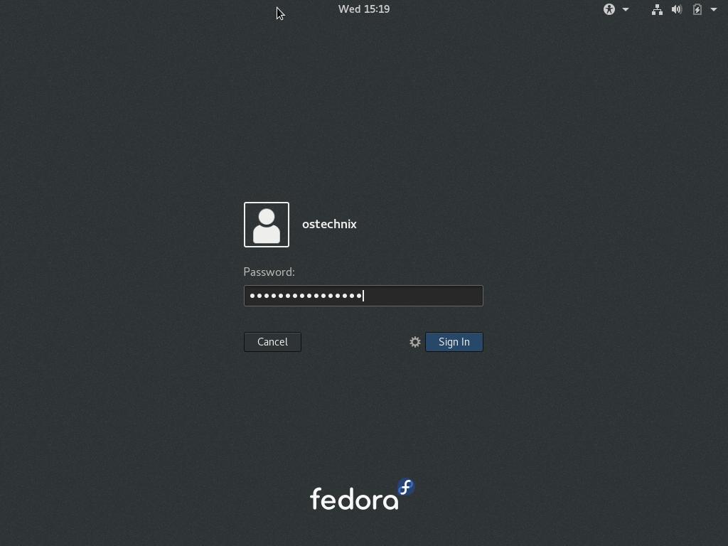 fedora-log-in-screen