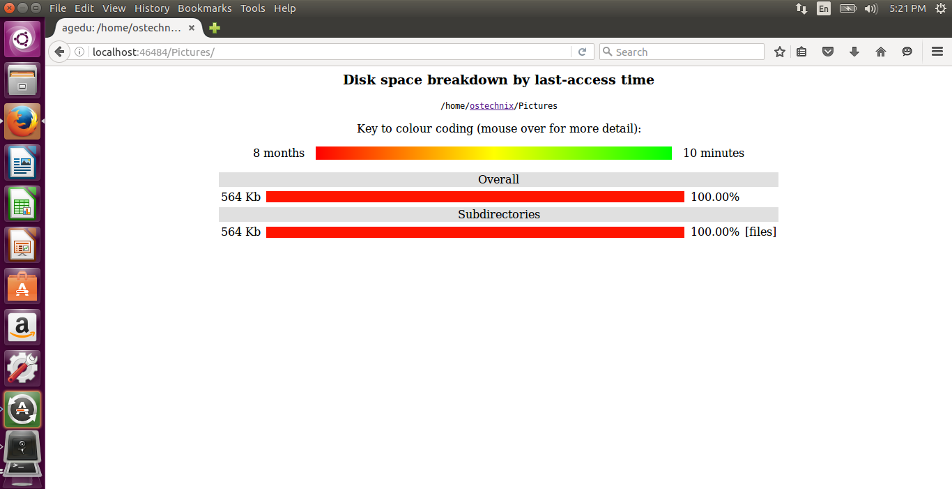 View disk space report of sub directories using agedu in web browser