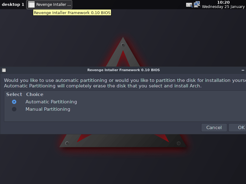 Installing Arch Linux Using Revenge Graphical Installer
