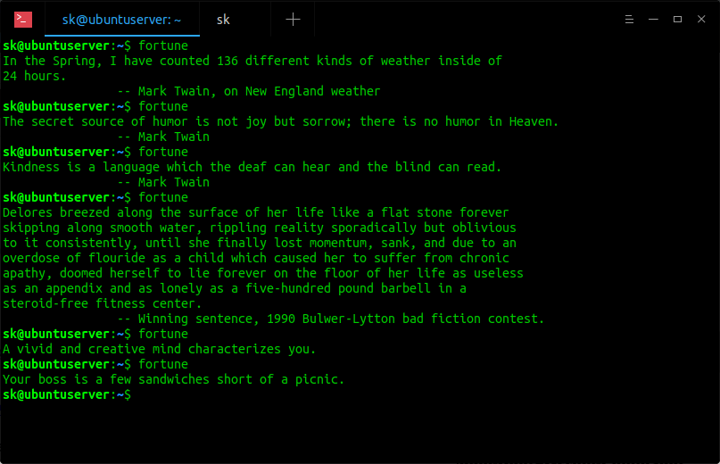 Display Random Quotes From Commandline Using Fortune program