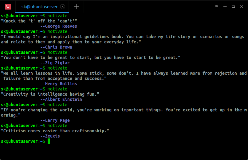 Display Random Quotes From Commandline Using Motivate program