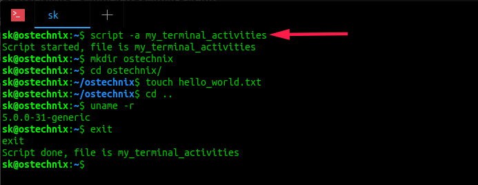 Record Everything You Do In Terminal Using Script Command In Linux