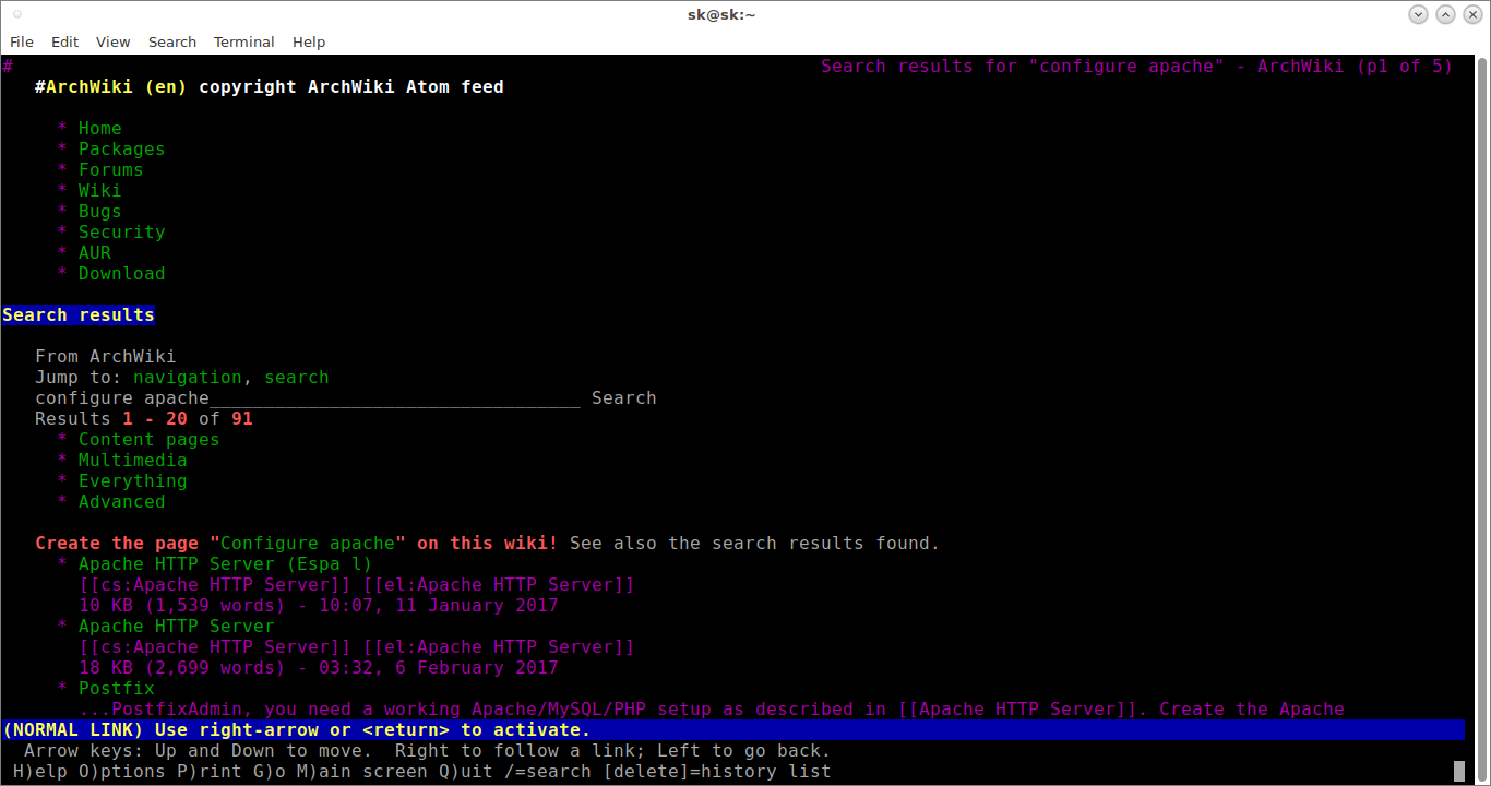 Arch wiki in command line