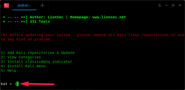 Install Kali Linux Tools Using Katoolin In Ubuntu 18 04 LTS