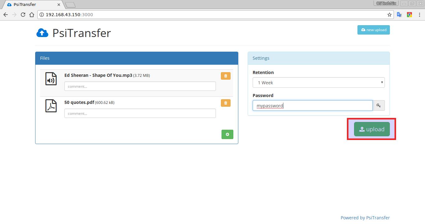 Upload files via PSiTransfer dashboard
