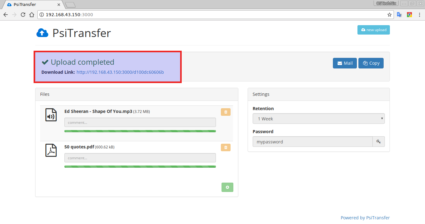 File download links in PSiTransfer dashboard