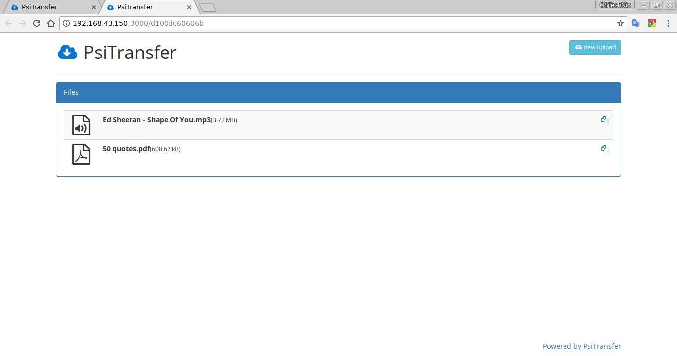 Download files via PSiTransfer dashboard