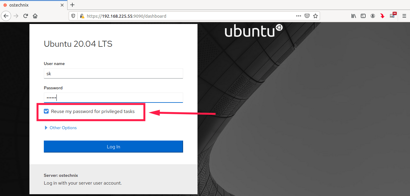 Login as admin user in Cockpit in Ubuntu