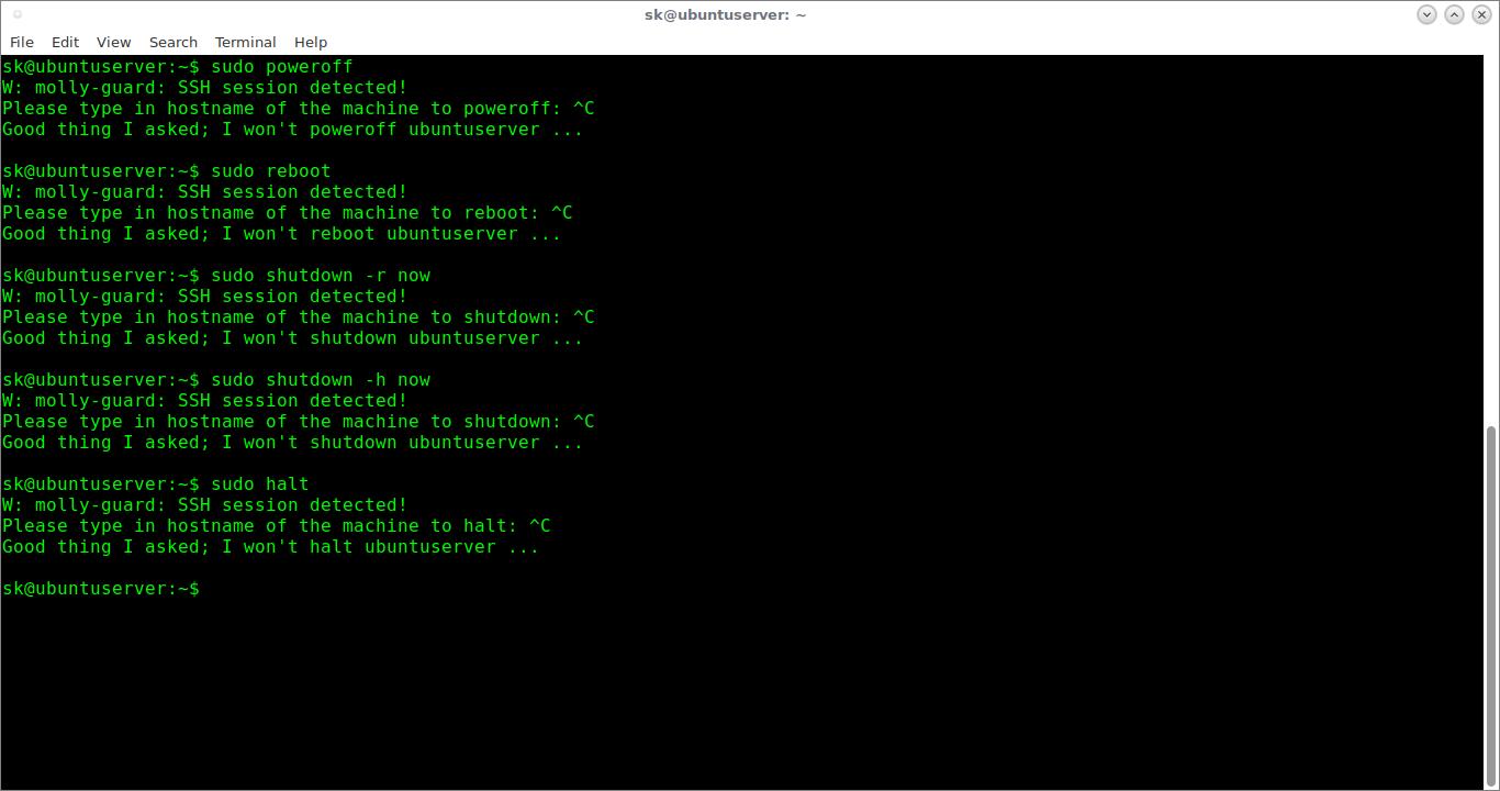 Avoid accidental shutdown or reboot over SSH session