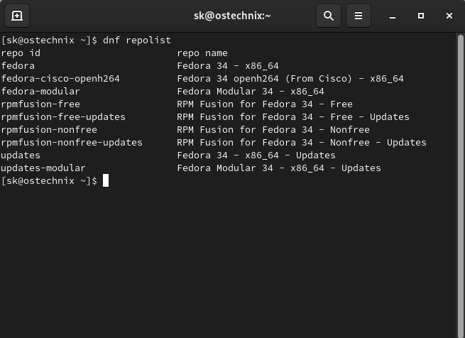 List installed repositories in Fedora, RHEL