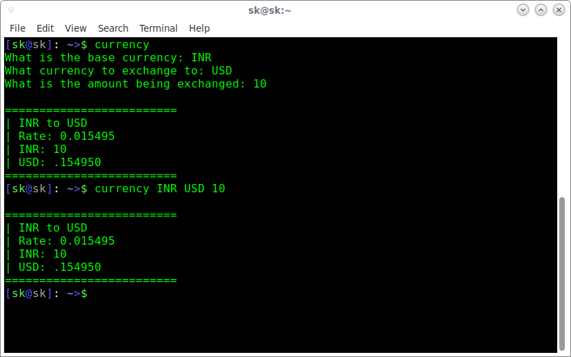 Convert the currency based on realtime exchange rates using Bash-Snippets