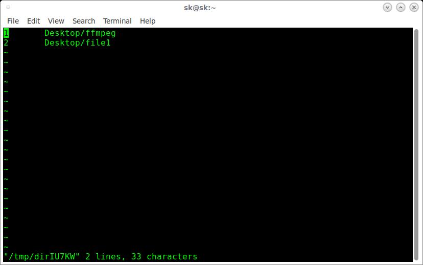 vidir edits the content of a directory