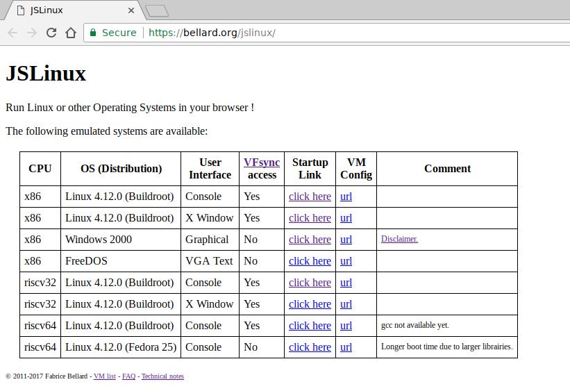 JSLinux PC/x86 emulator