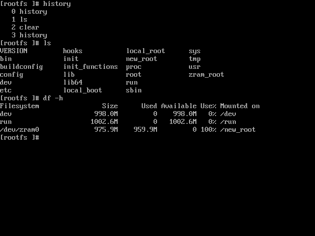 Root filesystem loaded into RAM