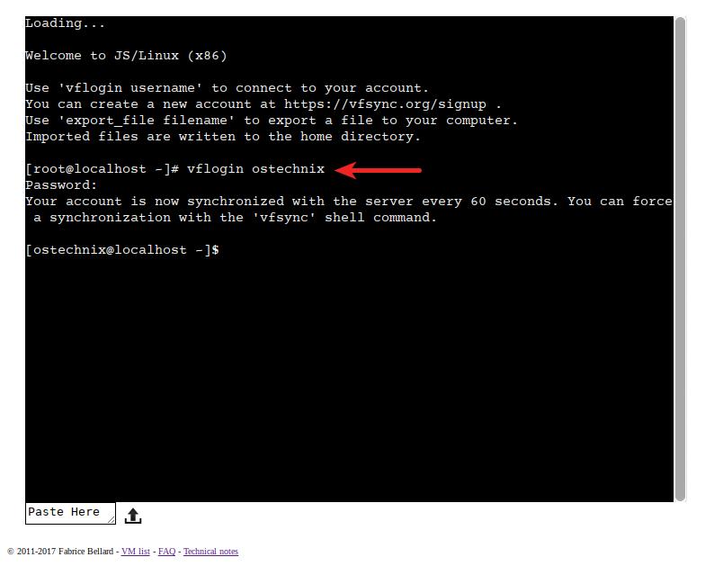 JSLinux console