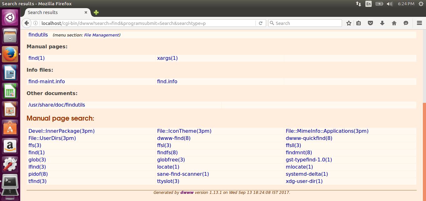 "Display ""Find"" command documentation with Dwww"