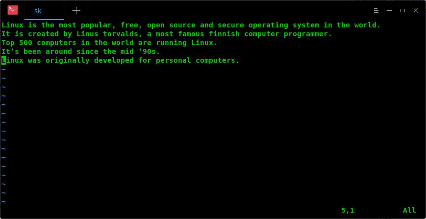 Open a file in Vim editor