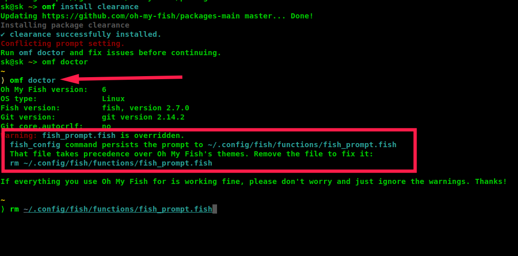 Troubleshooting Oh My Fish