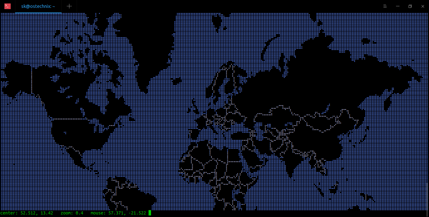Display the World Map in your Terminal using MapSCII