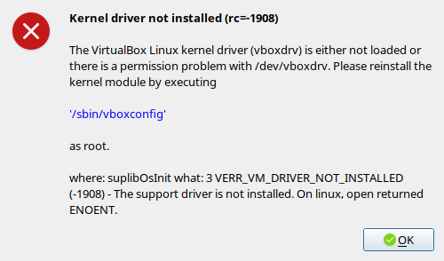 debian virtualbox error kernel driver not installed