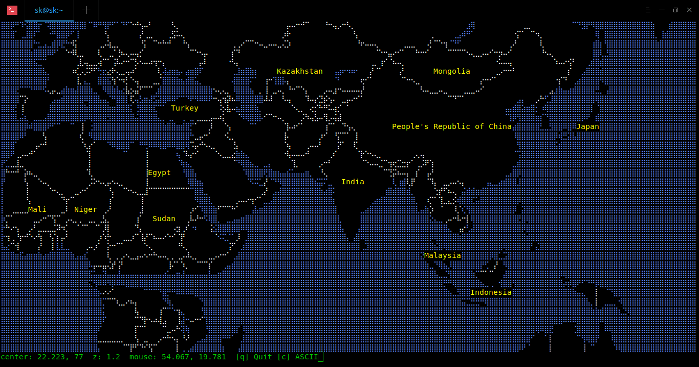 World map in Terminal