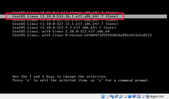 Boot into previous kernel in centos